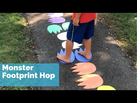 Monster Footprint Hop Kids Gross Motor Activity - Gross Motor Activities for Preschoolers Halloween