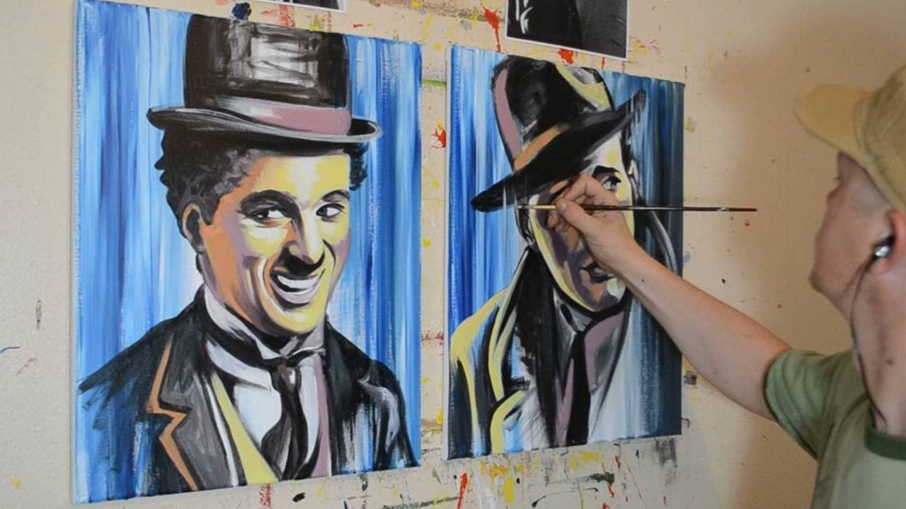 painting charlie chaplin and humphrey bogart