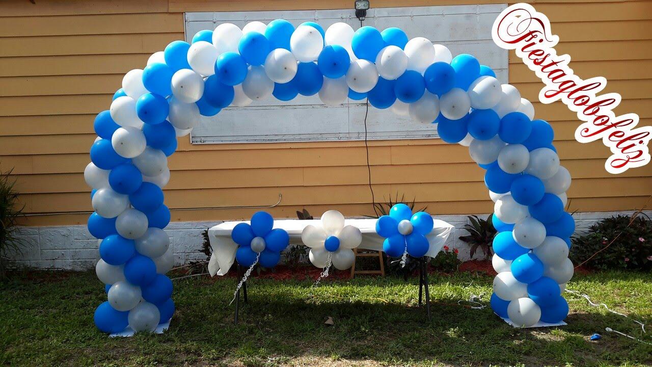 Como hacer un Arco en espiral de dos colores con globos - YouTube