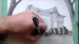Drawing an Ontario Farm House - Pen and Ink, Time Lapse