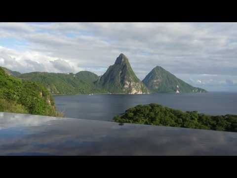 Jade Mountain view of the Pitons