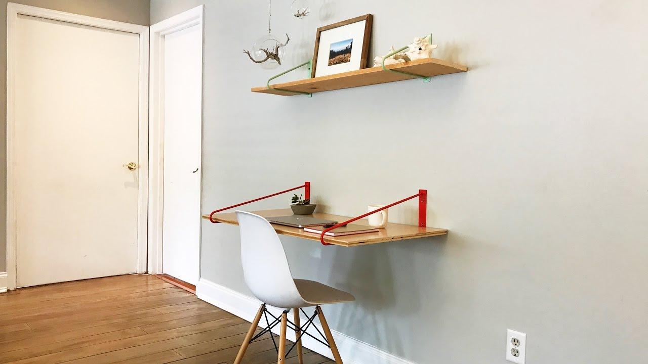 diy floating desk brackets youtube. Black Bedroom Furniture Sets. Home Design Ideas