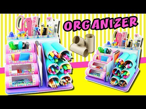🚨 DESKTOP Organizer from Cardboard Rolls 😱 Back to school ❣️ aPasos Crafts DIY ❣️
