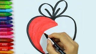 Cómo dibujar manzana - Cómo dibujar y colorear los para niños
