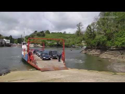 Crossing the River Fowey of the Bodinnick Car Ferry in Cornwall 1