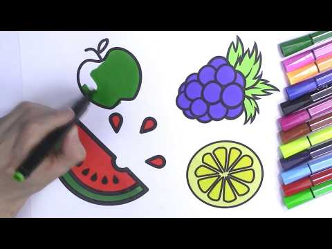 Fruits Coloring Pages for Kids: Apple, Watermelon, Grapes, Lemon How To Draw Fruits for Kids  🍉 🍇🍏🍋