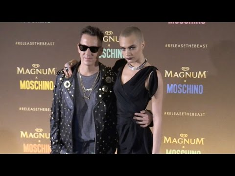Cara Delevingne and Jeremy Scott Photocall at Magnum Beach in Cannes