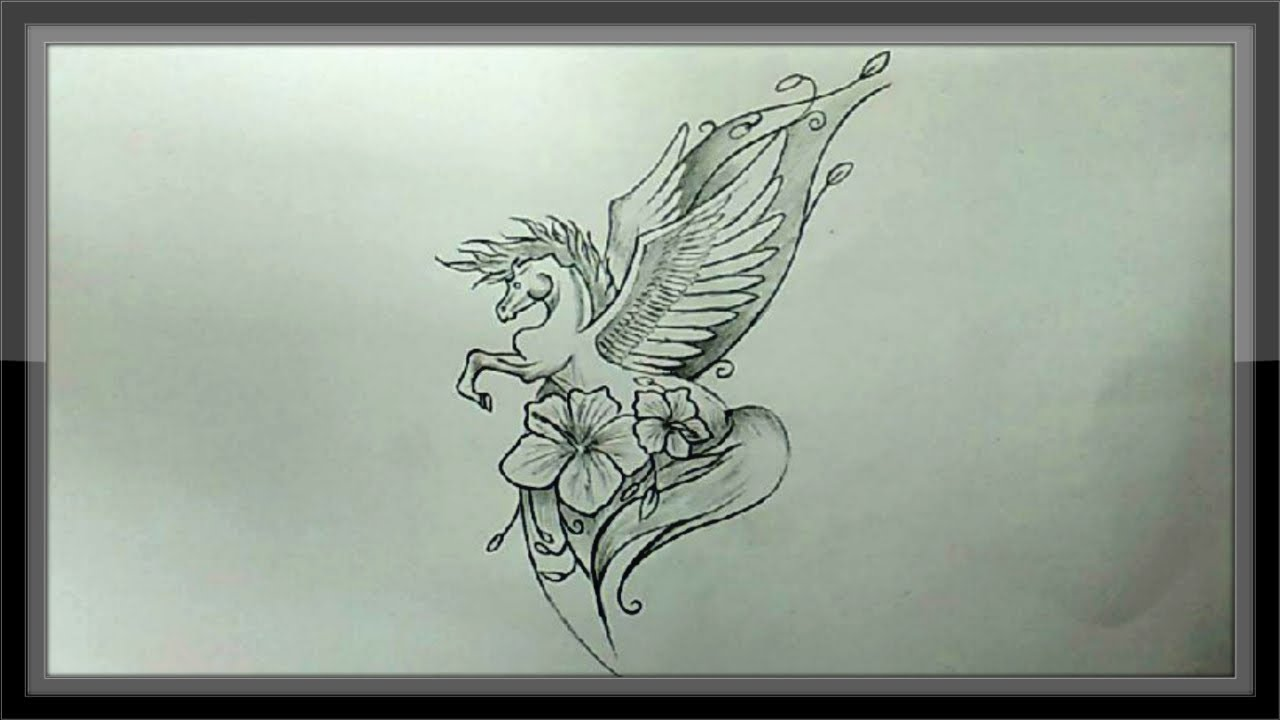 Simple pencil drawing angel horse for beginners step by step