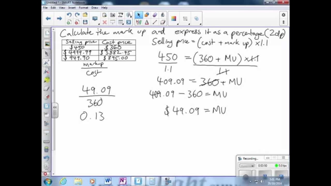 Calculating markup as a percentage of cost price - YouTube