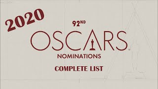 92nd Oscar Nominations Complete List 2020 Joker | The Irishman | Parasite