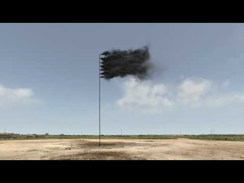 Artist John Gerrard creates virtual flag of billowing black smoke