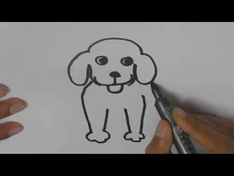 How to draw a Dog - in easy steps for children, kids