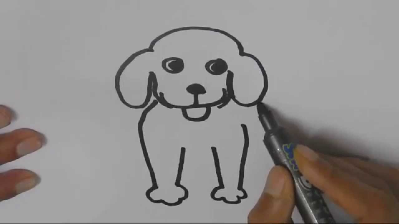 How To Draw A Dog In Easy Steps For Children Kids Beginners