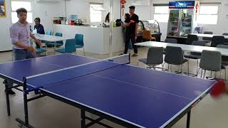Mr. Leuo from china is playing table tennis (PING PONG) in Chinese