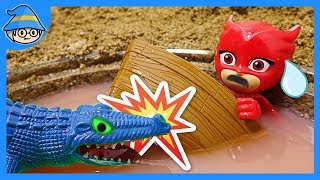 PJ Masks fell into a puddle of water.  PJ Masks rescue mission underwater.