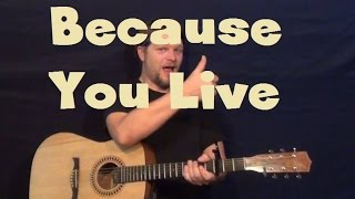 Because You Live (Jesse McCartney) Guitar Lesson How to Play Tutorial