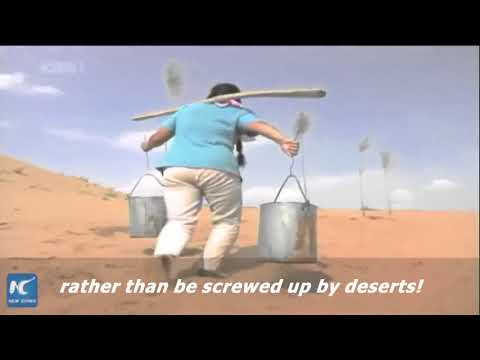 How do people in north China harness deserts?