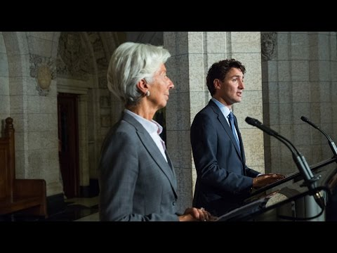 Prime Minister Trudeau holds a joint press conference with Christine Lagarde