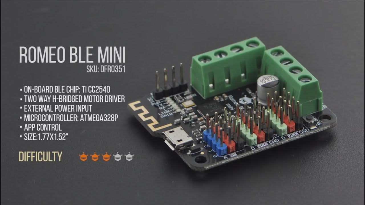 Romeo BLE mini -Small Arduino Robot Controller with Bluetooth 4 0