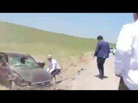 После перевернувшегося авто