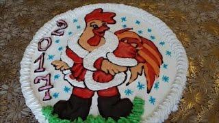 НОВОГОДНИЙ торт Торт раскраска Торт ПЕТУШОК Cake decoration