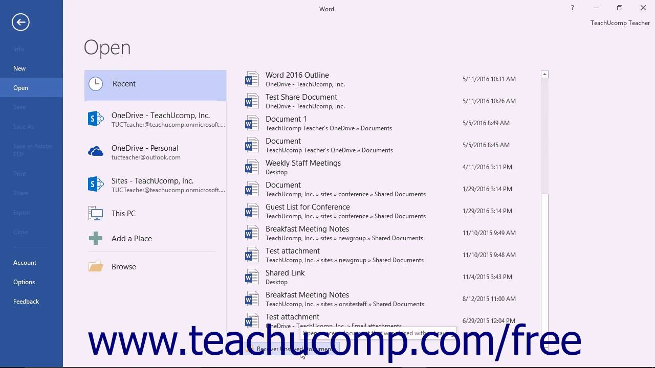 word 2016 tutorial recovering unsaved documents microsoft training youtube