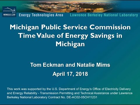Michigan Public Service Commission -Time Value of Energy Savings in Michigan