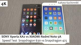 SONY Xperia XA2 vs XIAOMI Redmi Note 5A ❗❗❗ | Speed Test | Snapdragon 630 vs Snapdragon 425