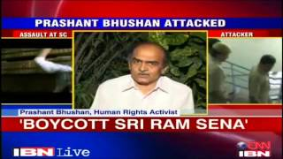 BAN ON SHRI RAM SENA.... PRESIDENT INDER VERMA BEATEN PRASHANT BHUSHAN FOR HIS KASHMIR REMARKS