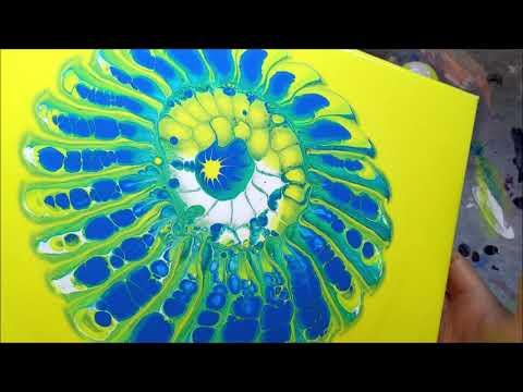 Yellow Blue and Green Strainer Paint Pour - Acrylic Paint Pour Through A Colander