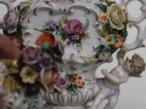 SITZENDROF DRESDEN Porcelain Vase China Condition German Ant