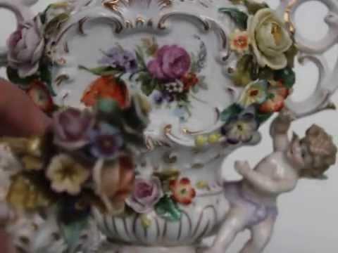 Sitzendrof Dresden Porcelain Vase China Condition German Antique Top