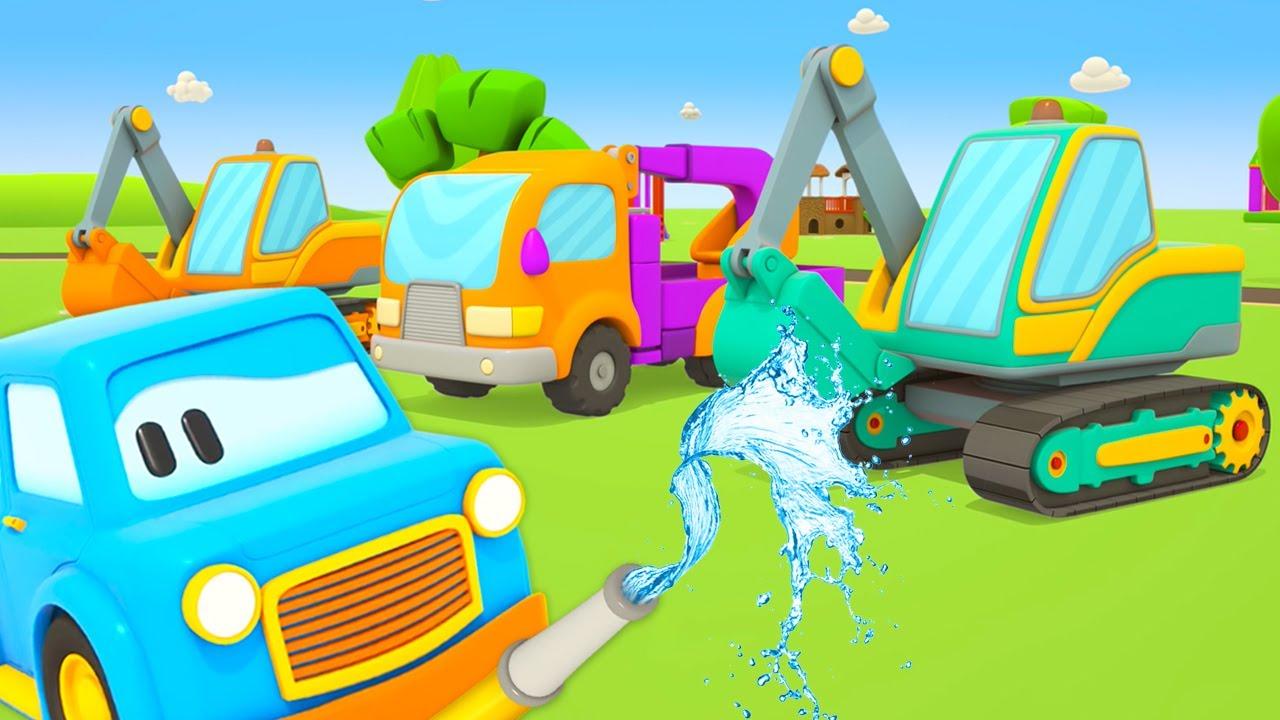 Строительные машинки на автомойке. Мультики про Умные машинки - Игры развивающие для малышей