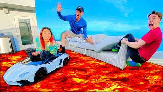 FLOOR IS LAVA CHALLENGE ON THE ROOF!!