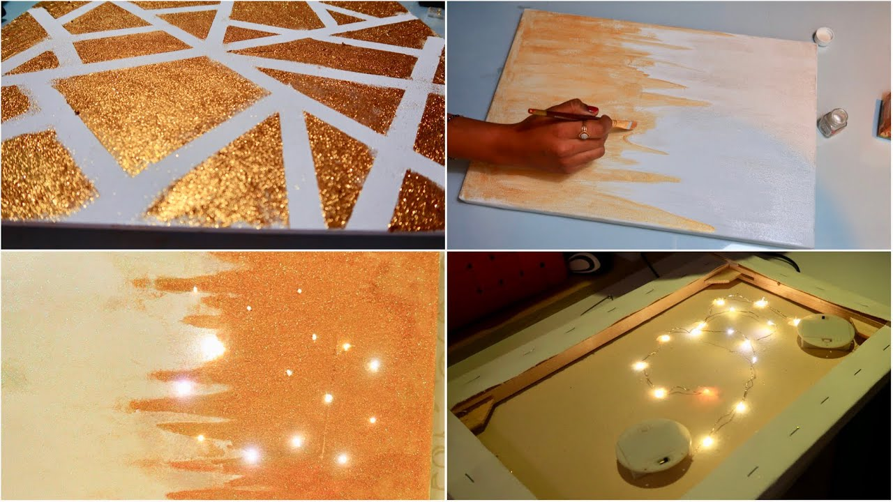 Diy 5 Minutes Wall Art Easy To Make Glitters Painting Youtube