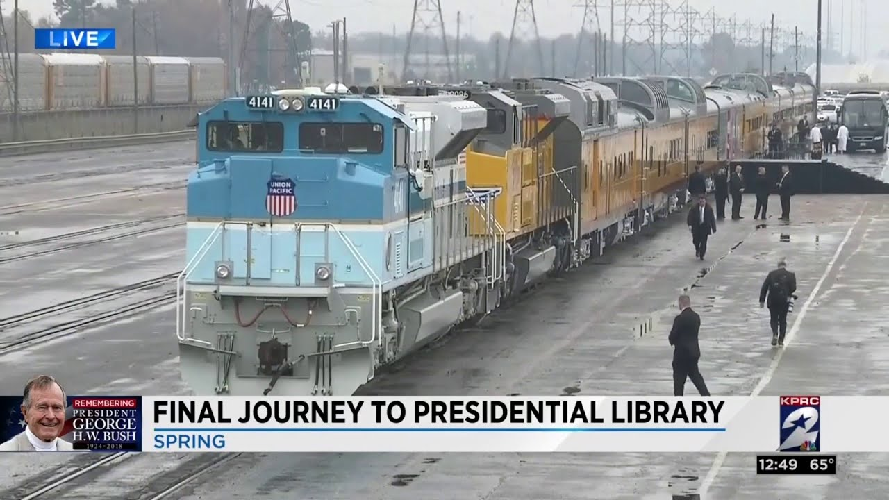 President George H.W. Bush's train travels from Spring to College Station