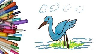 How to Draw a Heron Step by Step For KIDS | Easy Heron Drawing | Easy Peasy Drawing