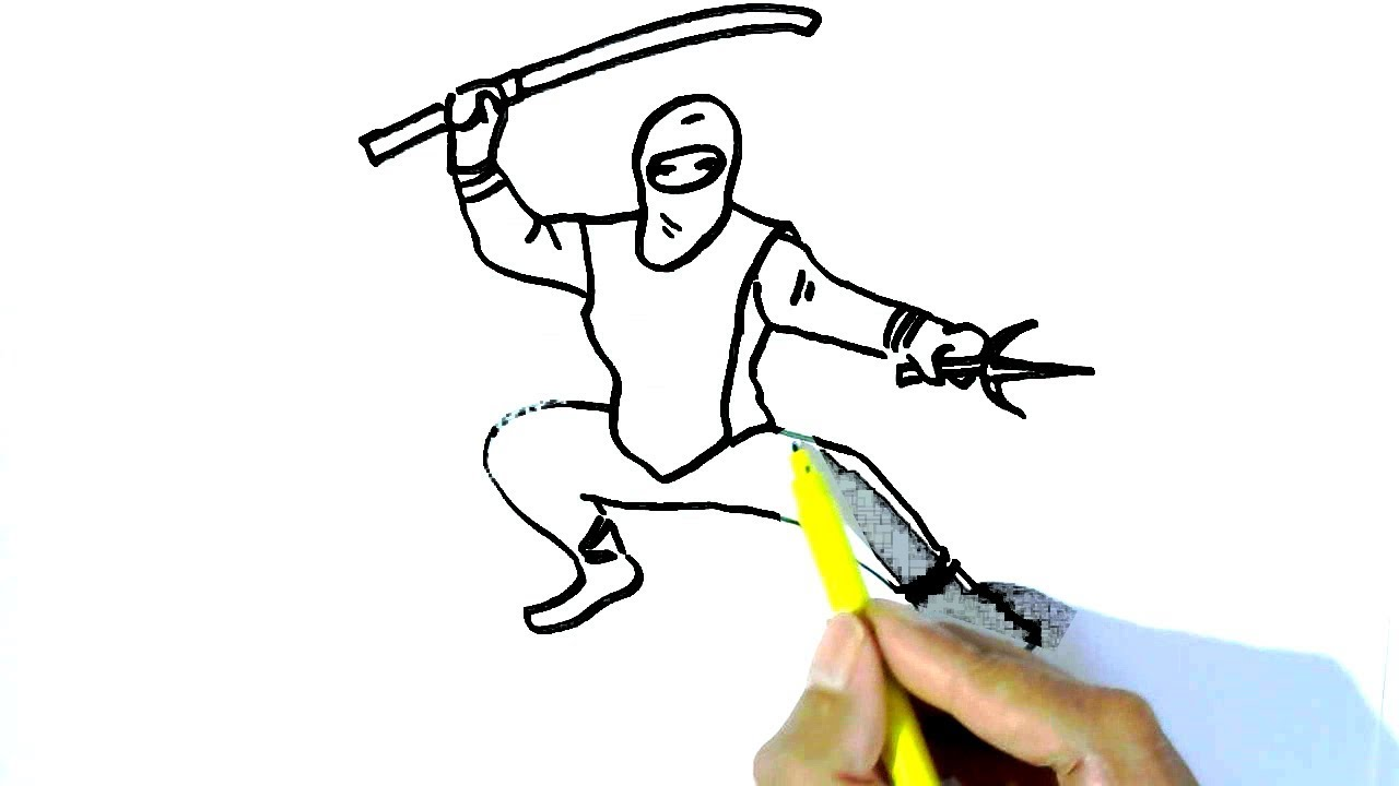 How to draw ninja in easy steps for children kids beginners