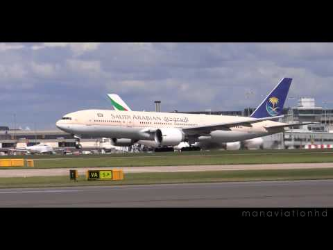 Saudi Arabian Airlines 777 Take off Manchester Airport August 2014