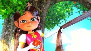 Прекрасная Принцесса Амира с храбрым сердцем и ее красивые волосы. Мультики для детей