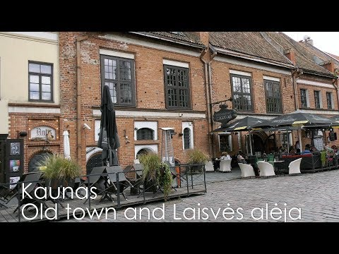 Lithuania Kaunas Old town and Laisves aleja 4K