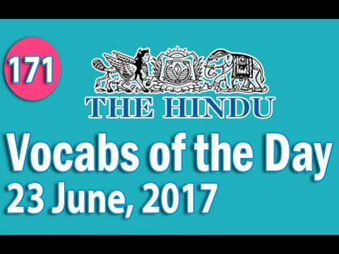 Daily The Hindu Vocabulary June Learn New Words - 23 new words