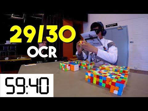 Rubik's Cube Multiple Blindfolded Oceanic Record - 29/30 in 59:40
