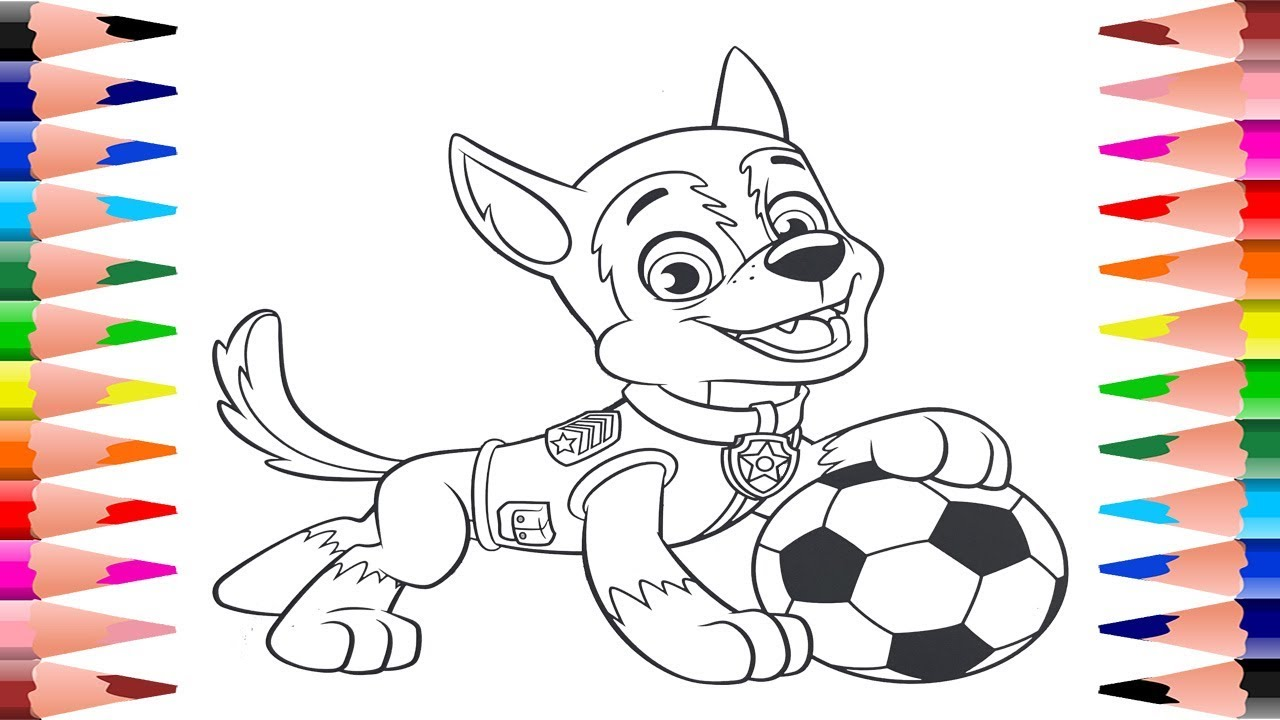 Painting Paw Patrol Tracker And Marshall Paw Patrol Coloring