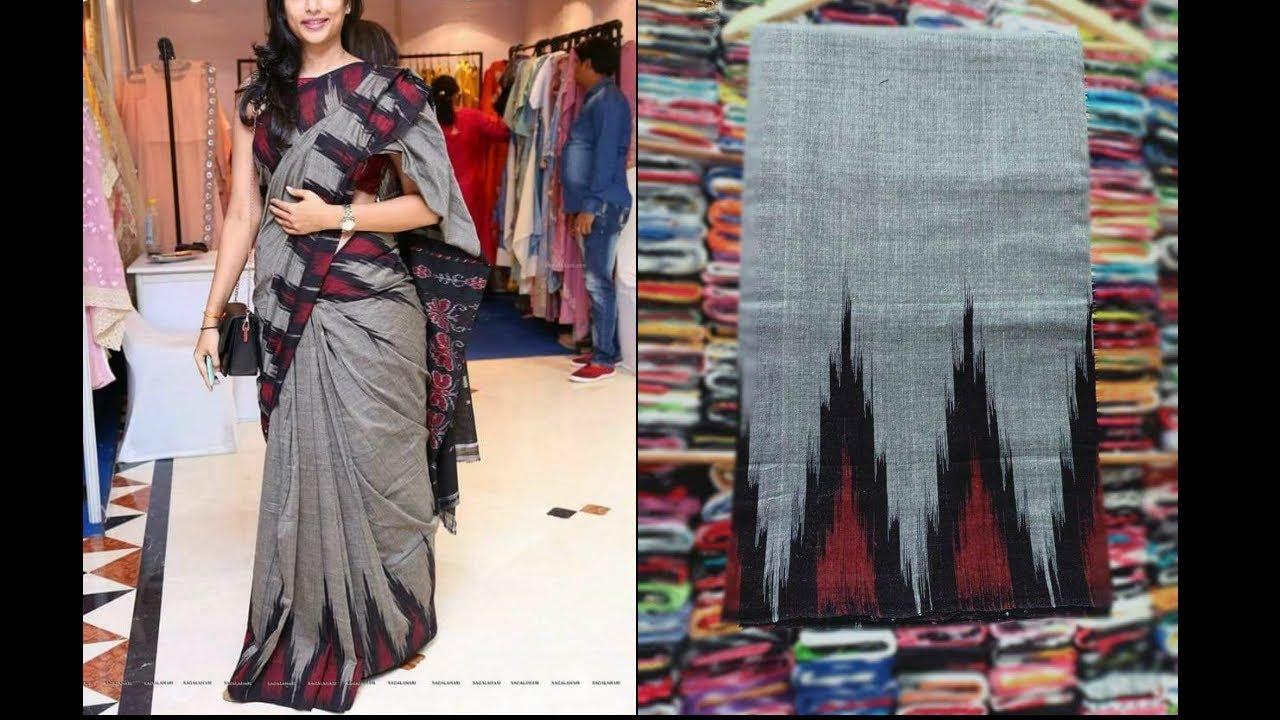 c9041d4b4bbbae Ikkat Pochampally Handloom Cotton Sarees Along with Matching Blouse ...