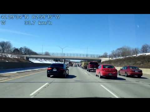 Driving from Saint Clair Shores, Michigan to Detroit, Michigan