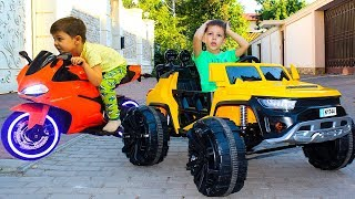 Kid ride on Power Wheels car Sportbike for kids Family fun Playtime Compillation Toys video for kids