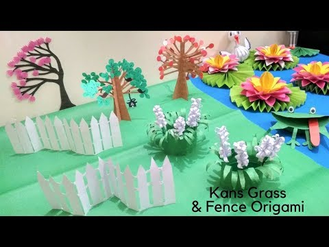 Paper Flower Crafts: How to Make Kans Grass Paper Flowers | Easy Funny Fence