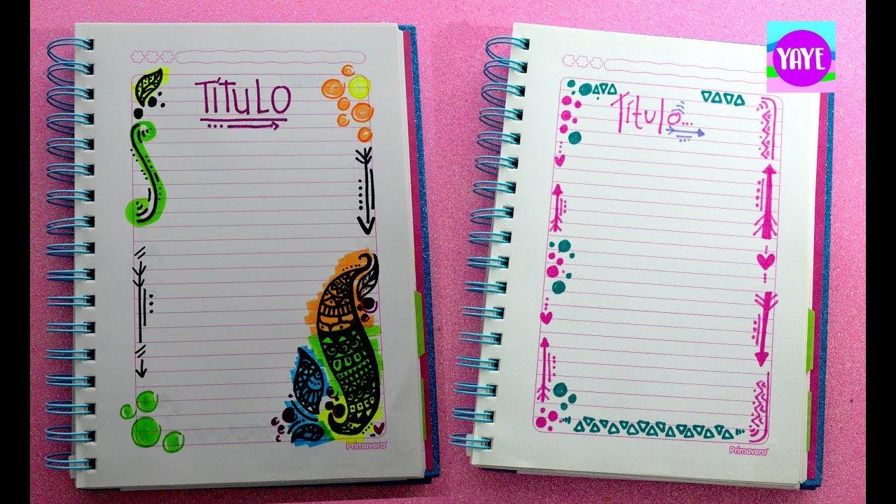 ideas para decorar los bordes de los cuadernos Yaye YouTube