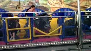 the wife and the boy on john holdsworths crazy bulls (town moor hoppings 2010)